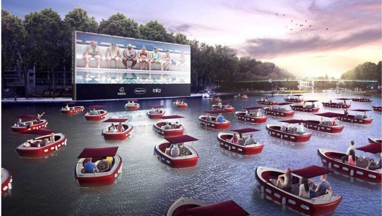 "Lakefront boat ""drive in"" movie theater"